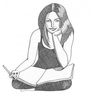 schwarz-weißes Selbstporträt der Illustratorin